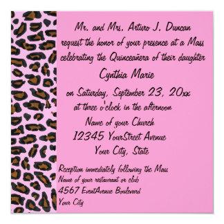 Estampado leopardo rosado de Quinceanera Invitación 13,3 Cm X 13,3cm