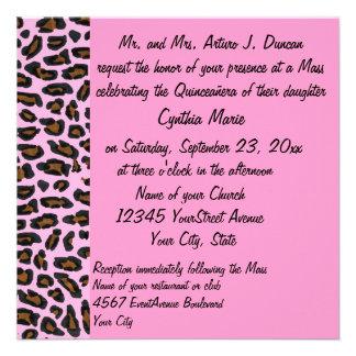 Estampado leopardo rosado de Quinceanera Comunicados Personales