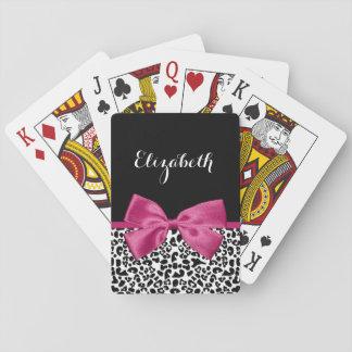 Estampado leopardo rosado oscuro vivaz de la cinta barajas de cartas
