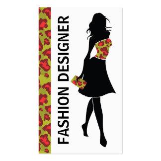 Estampado leopardo verde rojo del chica del plantillas de tarjetas personales