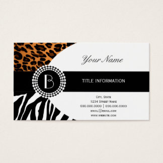 Estampados de animales elegantes cebra y modelos tarjeta de negocios