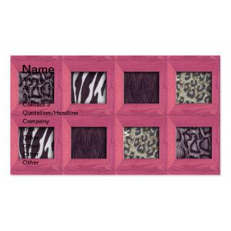 Estampados de animales enmarcados de madera rosado plantillas de tarjeta de negocio