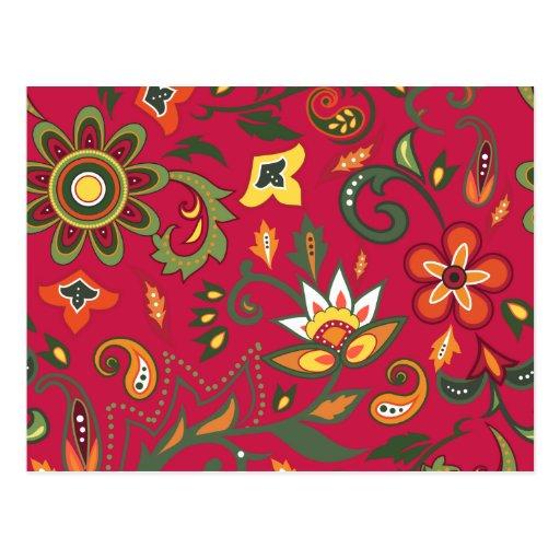 Estampados de flores decorativos postales