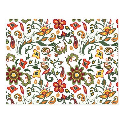 Estampados de flores decorativos postal