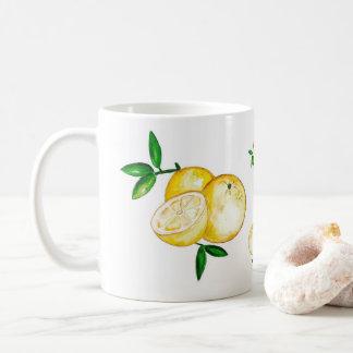 Están árbol de naranja hoja en la ruta taza de café