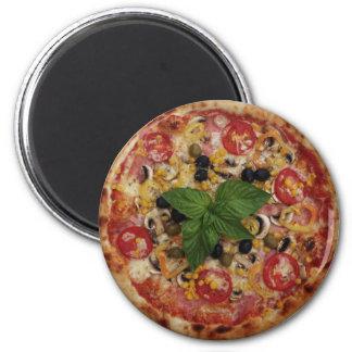 Estándar de lujo de la pizza, imán redondo de la