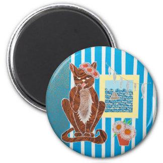 Estándar, imán redondo de 5,7 cm con el gato del