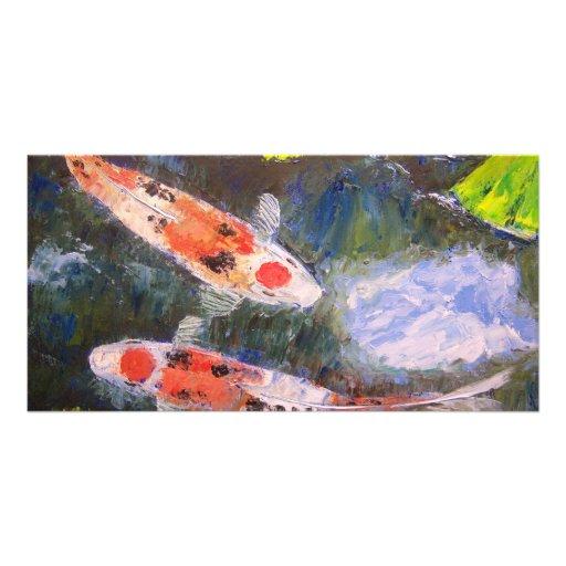 Estanque de peces de koi tarjeta fotogr fica for Estanque peces koi