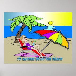 """Estaría bastante en la playa - mujer 24"""""""" el poste póster"""