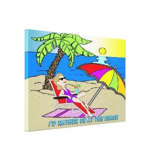 """Estaría bastante en la playa - mujer 36"""" x24"""" envu lienzo envuelto para galerias"""