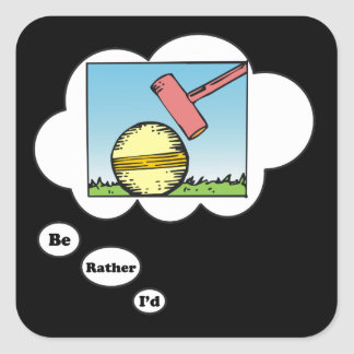 Estaría jugando bastante el croquet 3 pegatina cuadrada