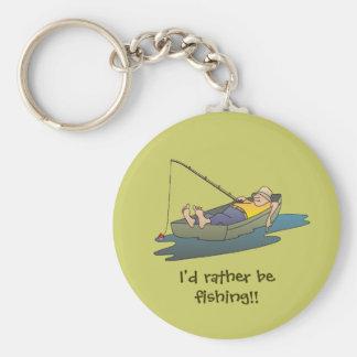 Estaría pescando bastante - día perezoso del barco llavero redondo tipo chapa