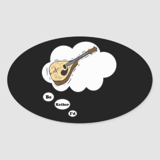 estaría tocando bastante la mandolina calcomanía óval
