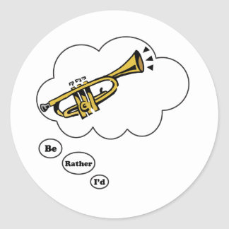 estaría tocando bastante la trompeta 3 pegatinas redondas