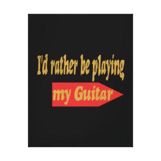 Estaría tocando bastante mi guitarra - fondo negro impresiones de lienzo