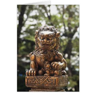 Estatua de bronce del león tarjeta de felicitación