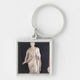 Estatua de César Augustus Llavero Cuadrado Plateado