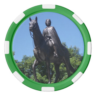 Estatua de Elizabeth II en fichas de póker de la