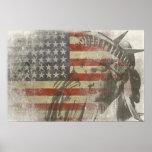 Estatua de la libertad en bandera americana del vi poster