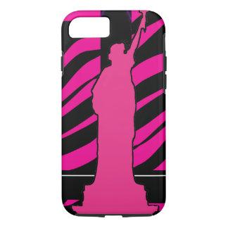 Estatua de la libertad en iPhone rosado y negro 7 Funda iPhone 7