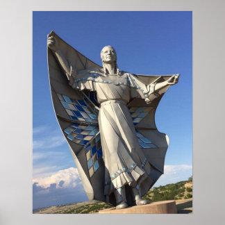 Estatua de la mujer del nativo americano póster