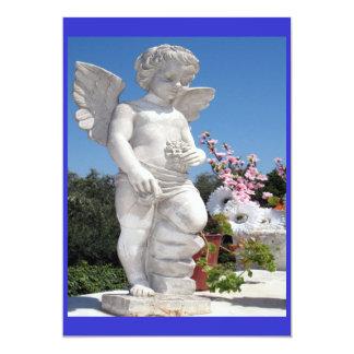 Estatua del ángel en azul y blanco invitación 12,7 x 17,8 cm