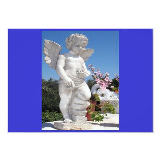 Estatua del ángel en azul y el gris I Invitación 12,7 X 17,8 Cm