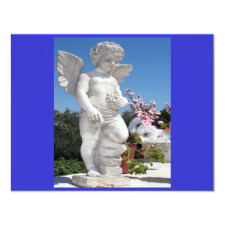 Estatua del ángel en azul y el gris II Invitación 10,8 X 13,9 Cm