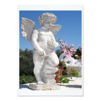 Estatua del ángel en blanco invitación 12,7 x 17,8 cm
