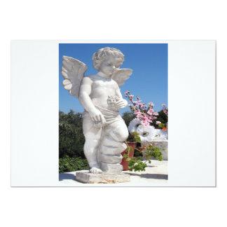 Estatua del ángel en blanco y gris invitación 12,7 x 17,8 cm
