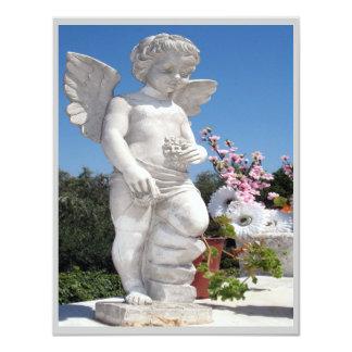 Estatua del ángel en gris y el azul III Invitación 10,8 X 13,9 Cm
