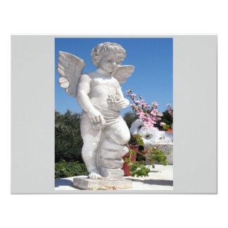 Estatua del ángel en gris y el blanco II Invitación 10,8 X 13,9 Cm