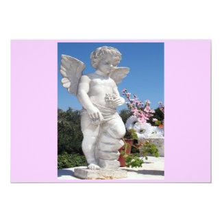 Estatua del ángel en rosa y gris invitación 12,7 x 17,8 cm