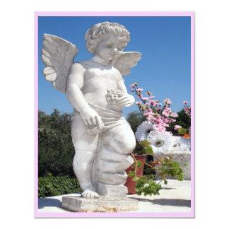 Estatua del ángel en rosado y el blanco III Invitación 10,8 X 13,9 Cm