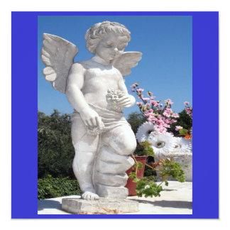 Estatua del ángel en V azul y blanco Invitación 13,3 Cm X 13,3cm
