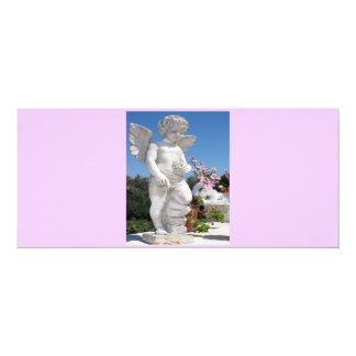 Estatua del ángel en V rosado y gris Invitación 10,1 X 23,5 Cm