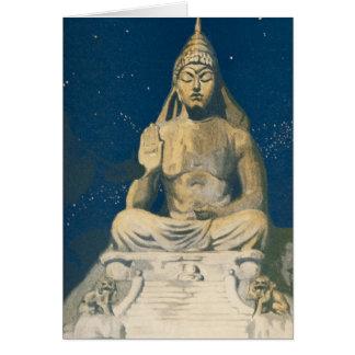 Estatua del cielo nocturno de Buda del vintage Felicitaciones