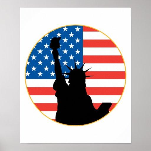 Estatua del diseño patriótico de la libertad poster