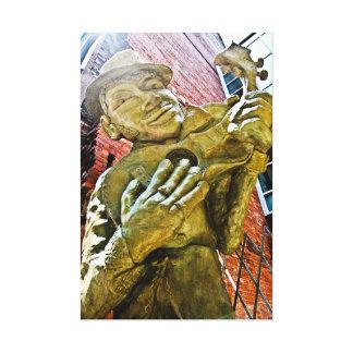 Estatua del hombre del jazz impresión en lienzo