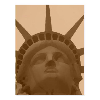 Estatua del tono de la sepia del vintage de la postal