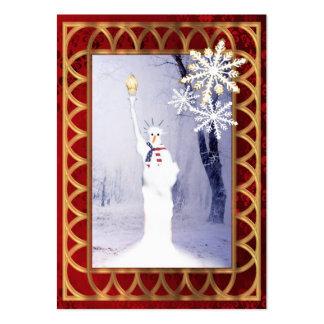 Estatua divertida del navidad del muñeco de nieve tarjetas de visita grandes