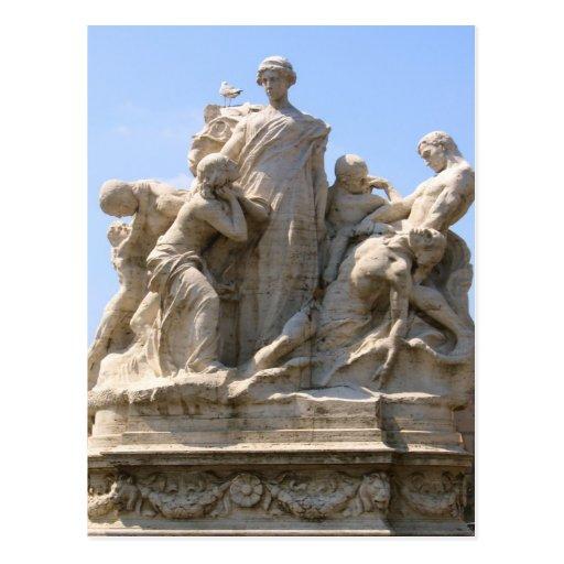 Estatua en Roma Italia Tarjeta Postal