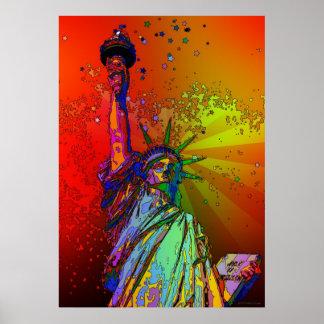 Estatua psicodélica del color del arco iris de NYC Póster