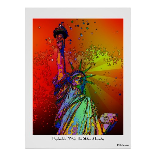 Estatua psicodélica del color del arco iris de NYC Poster