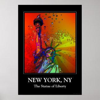 Estatua psicodélica del color del arco iris de NYC Impresiones