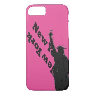 Estatua rosada de los E.E.U.U. NYC del negro del Funda iPhone 7