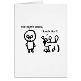 Este cómico chupa tarjeta de felicitación