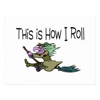 Éste es cómo ruedo a la bruja de Halloween Postal