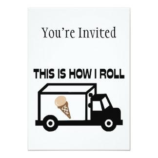 Éste es cómo ruedo el camión del helado invitación 12,7 x 17,8 cm