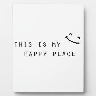 éste es mi diseño moderno simple del lugar feliz placa expositora
